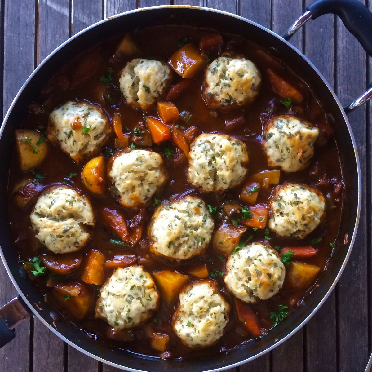Hearty Winter Veg Stew, With Herby Dumplings